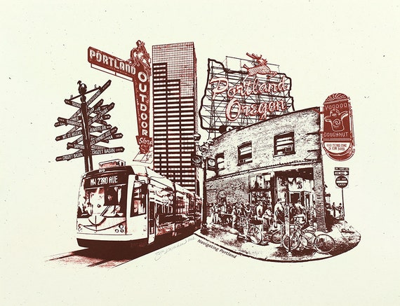 Portland Art Print -- Navigating Portland -- 8.5x11 and 11x14