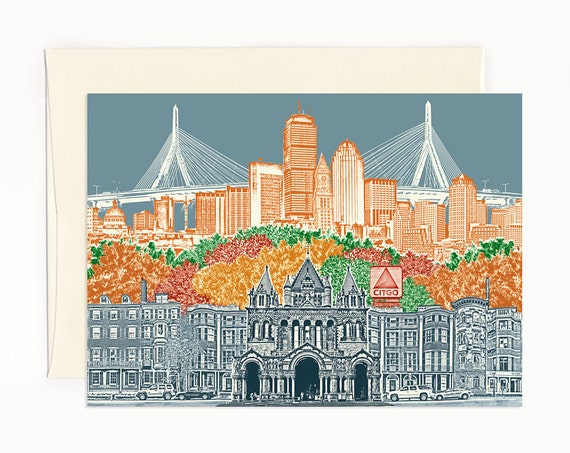 ON SALE! -- Boston, Massachusetts Notecard -- folded Greeting Card -- full color -- Single or Set of 6