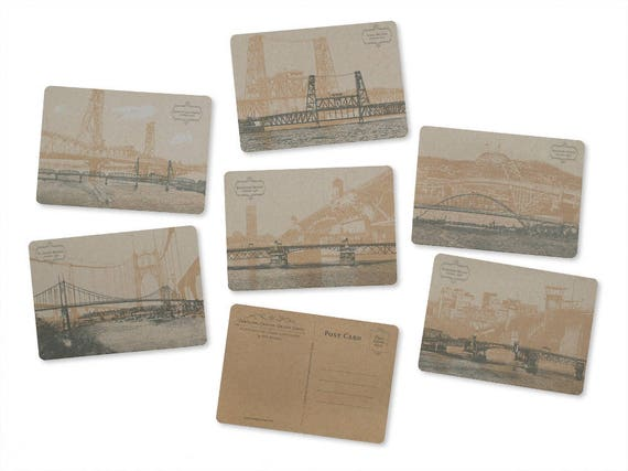 ON SALE!! -- Portland, Oregon Bridges Postcard Series -- Chipboard -- Set of 6 Cards