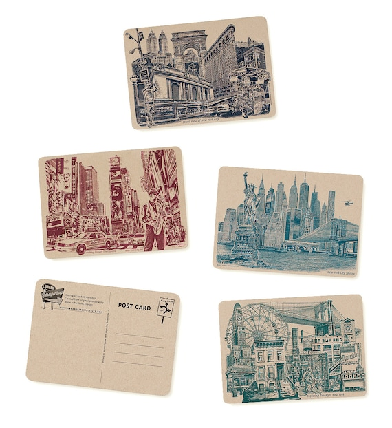 Icons of NYC & Brooklyn, New York Postcards - Set of 8 Cards - ON SALE!!