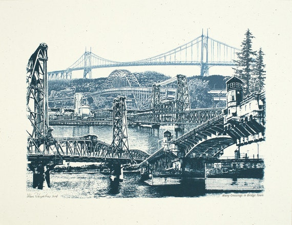 Portland Art Print -- Many Crossings in Bridgetown -- 8.5x11, 11x14, and 16x20 Poster