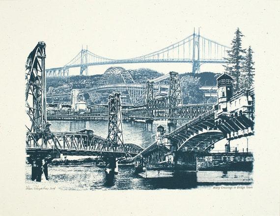 Portland Art // Print // Wall art // Oregon Art // Collage // Cityscape // Many Crossings in Bridgetown - 8.5x11, 11x14, and 16x20 Poster