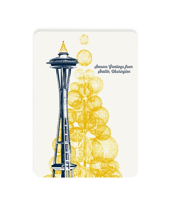 Seattle Holiday Themed Postcards -- Space Needle Holiday Lights -- Single or Set of 8