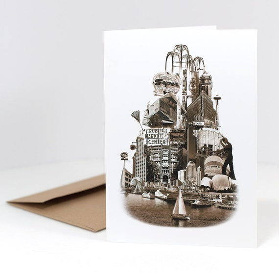 Tower of Seattle Notecard - Seattle, Washington - sepia - 5x7 folded Greeting Card -- ON SALE!!