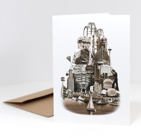 ON SALE!! -- Tower of Seattle Notecard - Seattle, Washington - sepia - 5x7 folded Greeting Card