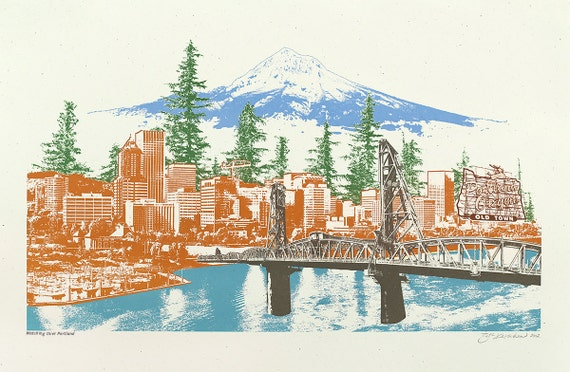 Portland Art Print -- Watching Over Portland -- 12.5x19