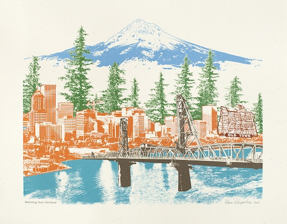 Portland Art Print --- Watching Over Portland -- 8.5x11, 11x14, and 16x20 Poster