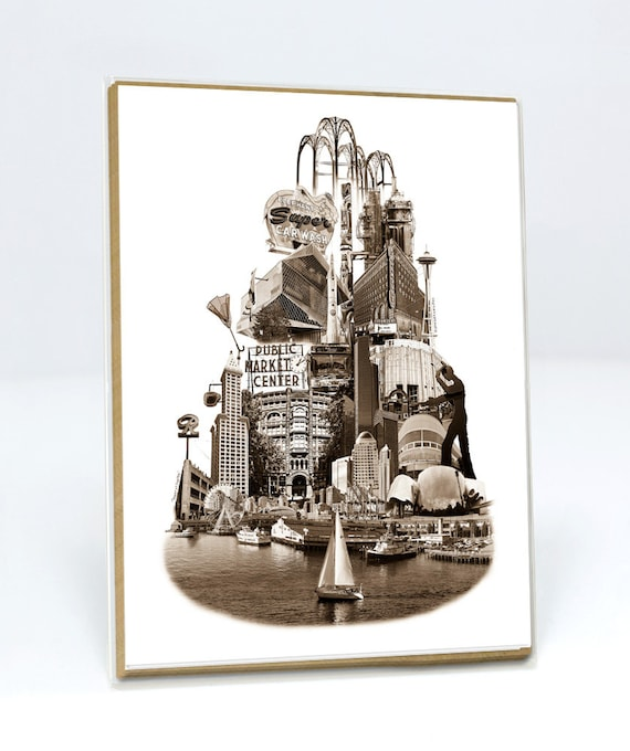 SET of Tower of Seattle Notecard  - Seattle, Washington - sepia - 6 folded Greeting Cards -- ON SALE!!