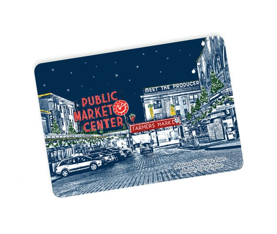 Seattle Holiday Themed Postcards - Pike Place Market Holiday Style - Single or Set