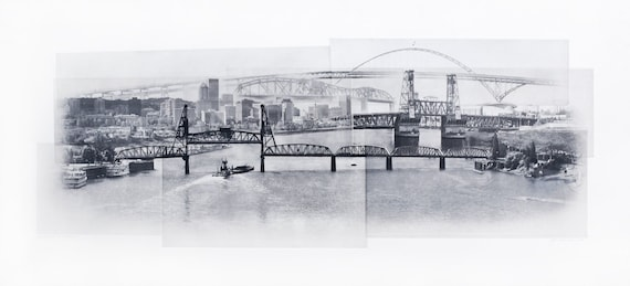 Portland Fine Art -- Crossing the Willamette -- Original Art Print -- Photographic Etching --Photography -- Oregon