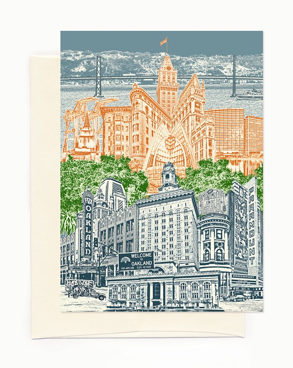 ON SALE!! -- Oakland, California Notecard - Cityscape - folded Greeting Card - full color - Single or Set