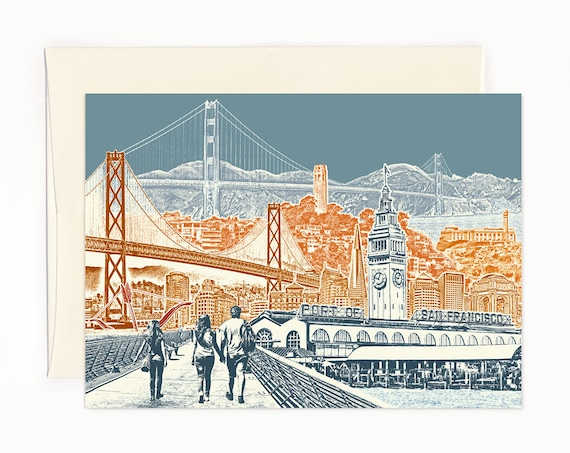 San Francisco Bay View Notecard - full color - California - folded Greeting Card - ON SALE!! - Single Card or Set of 6