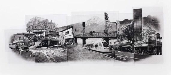 Portland Fine Art -- Portrait of Portland -- Original Art Print -- Photographic Etching -- Photography -- Oregon