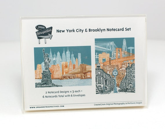ON SALE!!! -- New York City & Brooklyn Notecard Set - full color - New York - 6 folded Greeting Cards