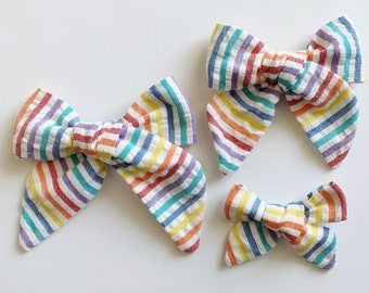 Set of 6  Rainbow Stripes  Summer Hair Bows  Summer Baby Shower  Bright Bows  NB-Toddler Bows NEW Happy Stripes SMALL Girl Bows