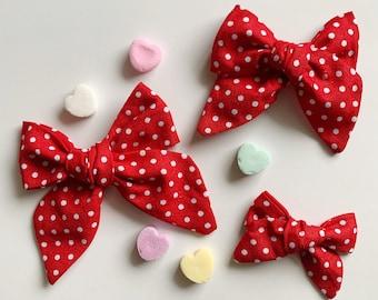 Red Polka Dots Head Wrap and Nylon Bow