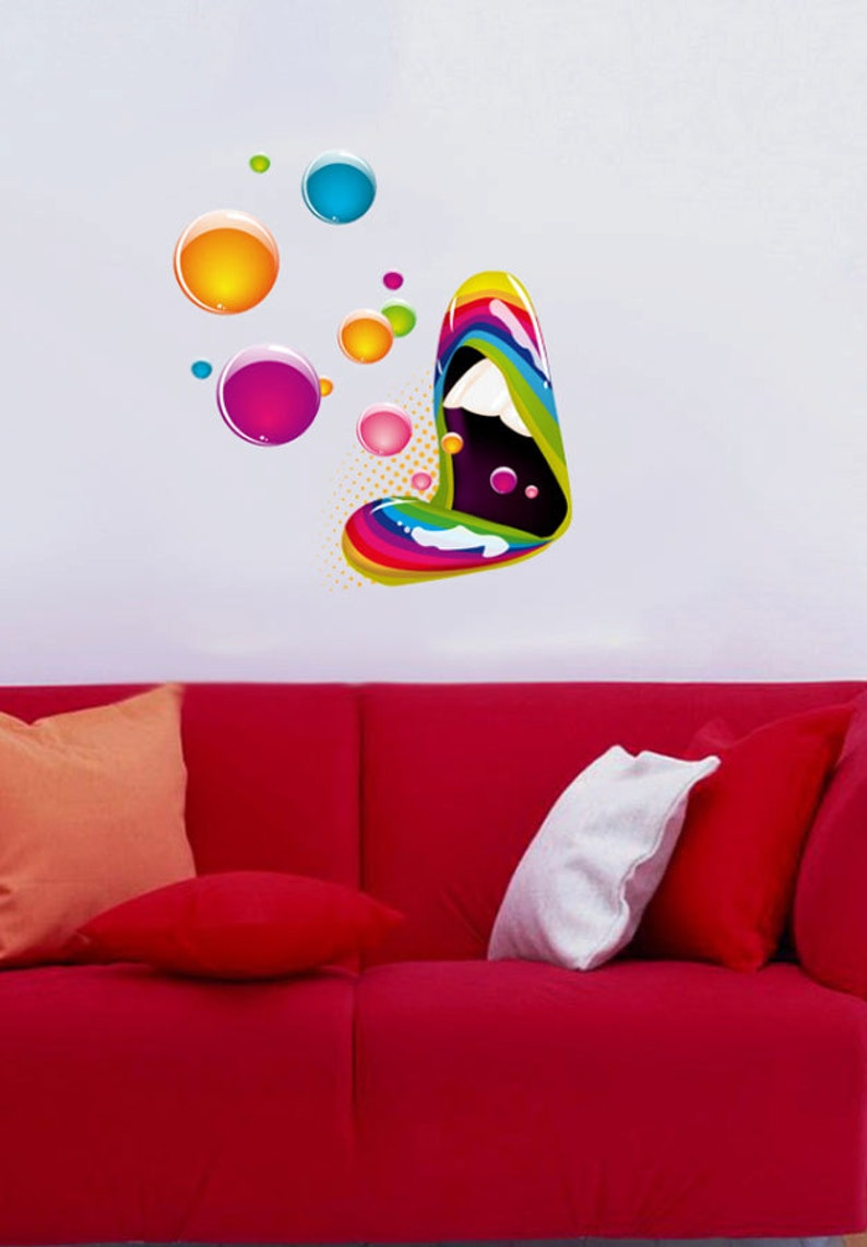 Full Color Wall Decal Vinyl Decor Art Sticker Removable Mural Modern B203 Artistic Mouth Design Color Music
