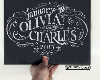 Personalized Chalkboard Wedding Sign Art - 18x24 - Wedding Sign Artwork - Reception Sign Art - Hand Drawn Delivered as Digital Print File