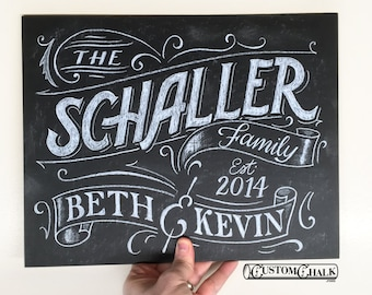 Family Name Sign Art - Personalized Home Decor - Family chalkboard sign art - Hand Drawn - Digital Print File Delivery