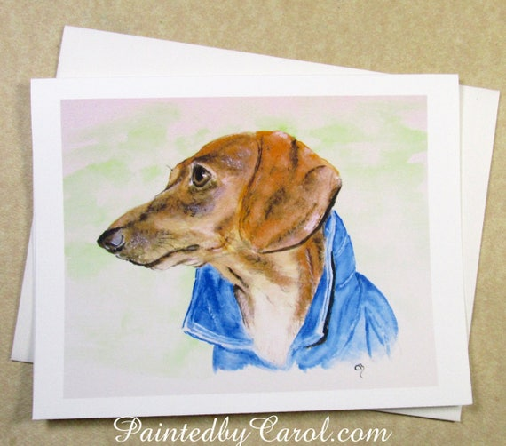 6 Dachshund Smooth Dog Red Black and Tan Blank Art Note Greeting Cards
