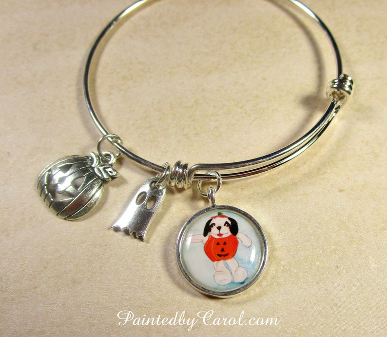Halloween Dog Bracelet Halloween Bangle Halloween Jewelry image 0