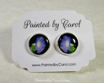 Morning Glory Earrings, Morning Glory Jewelry, Morning Glory Gifts, September Birthday Gifts, Blue Flower Earrings, Blue Flower Gifts