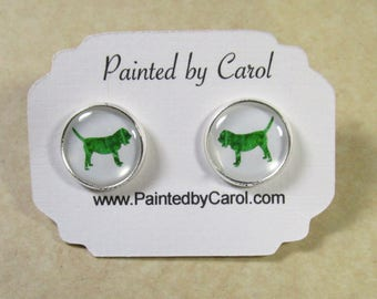 Bloodhound Earrings, Bloodhound Jewelry, Bloodhound Studs, Bloodhound Gifts, Bloodhound Mom Gifts, Earrings with Bloodhound