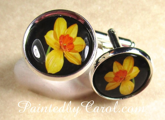 Yellow Jonquil Cufflinks Daffodil Mens Gifts Daffodil Bridal Jewelry Easter Mens Gifts Fathers Day Daffodil Cufflinks Easter Cufflinks