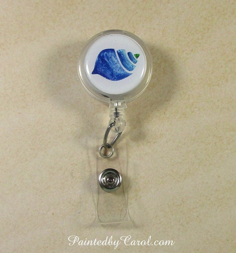 Sea Shell Badge Reel Seashell Lanyard Reel Sea Shell Gifts image 0