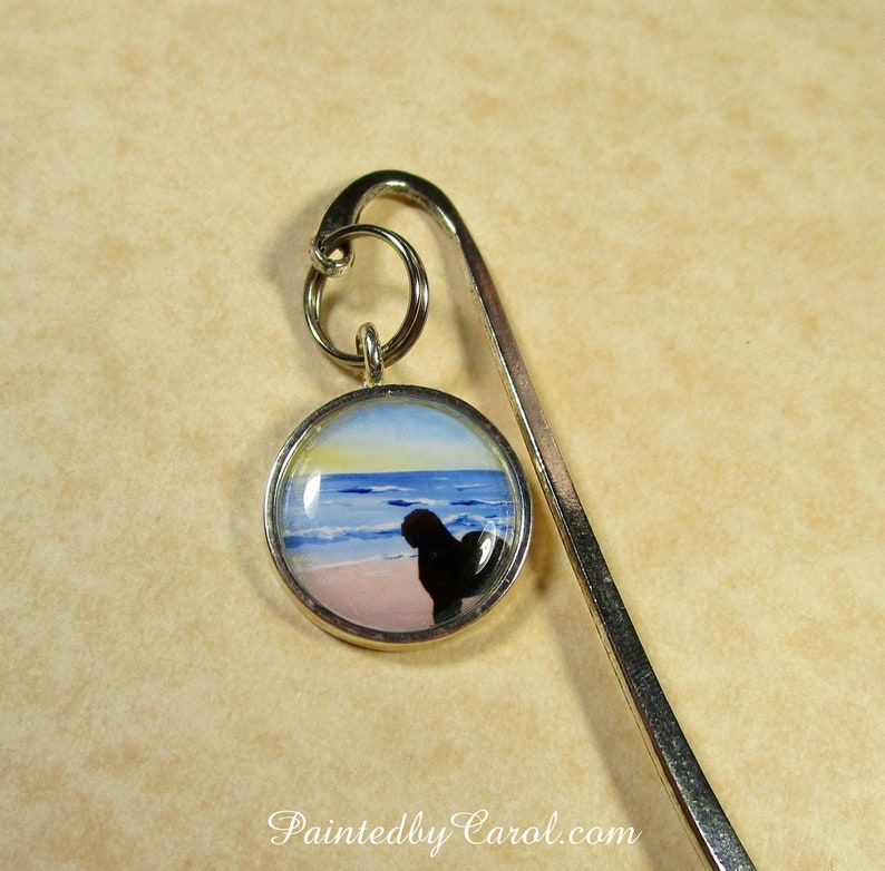 Old English Sheepdog Bookmark OES Silhouette on Beach Book image 0