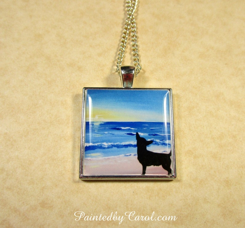 Chihuahua Sheepdog Pendant Chihuahua Beach Silhouette Pendant Only