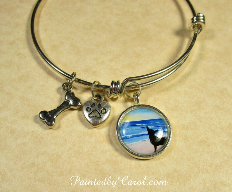 Chihuahua Bangle Chihuahua Silhouette on Beach Bracelet image 0