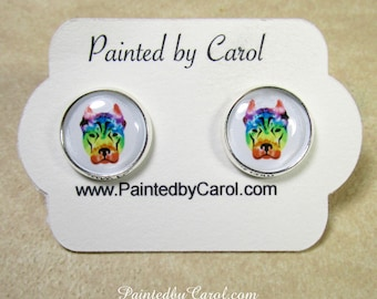 Pit Bull Earrings, Pit Bull Jewelry, Pit Bull Studs, Pit Bull Gifts, Pit Bull Mom Gifts, Gifts with Pit Bull, Pit Bull Lever Backs