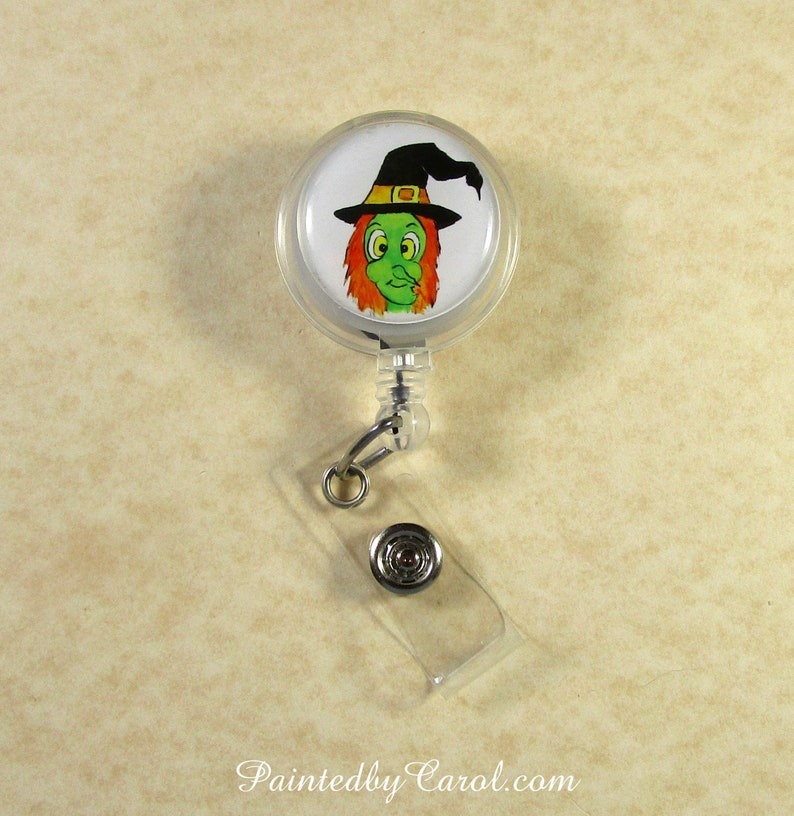 Witch Badge Reel Halloween Witch Lanyard Reel Witch image 0