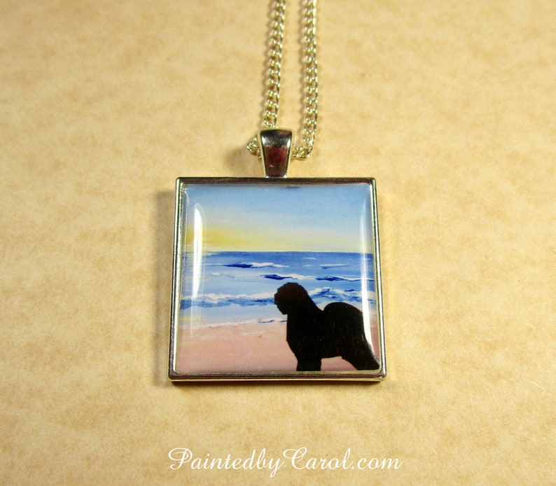 Old English Sheepdog Pendant OES Beach Silhouette Necklace Pendant Only
