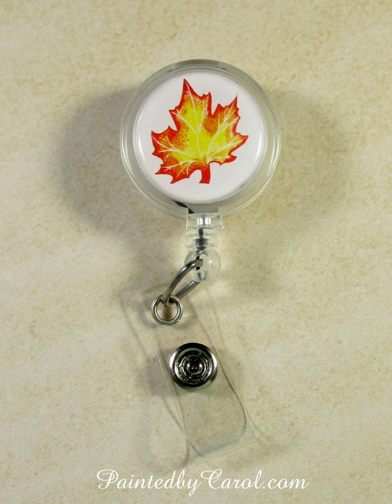 Leaf Badge Reel Autumn Leaf Lanyard Reel Fall Gifts Maple image 0