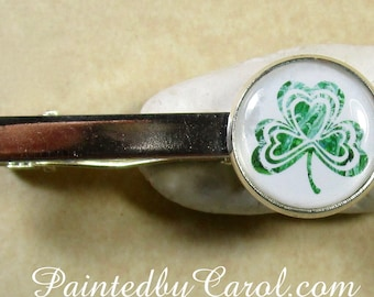 Shamrock Tie Bar, St Patrick's Day Tie Clip, St Patty's Day Tie Tack, Shamrock Pin, Shamrock Gifts, St Patricks Day Gifts, Shamrock Jewelry