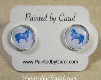 Collie Earrings, Rough Collie Jewelry, Collie Studs, Collie Lever Backs, Collie French Wire, Collie Gift, Collie Lover Gift, Collie Mom Gift