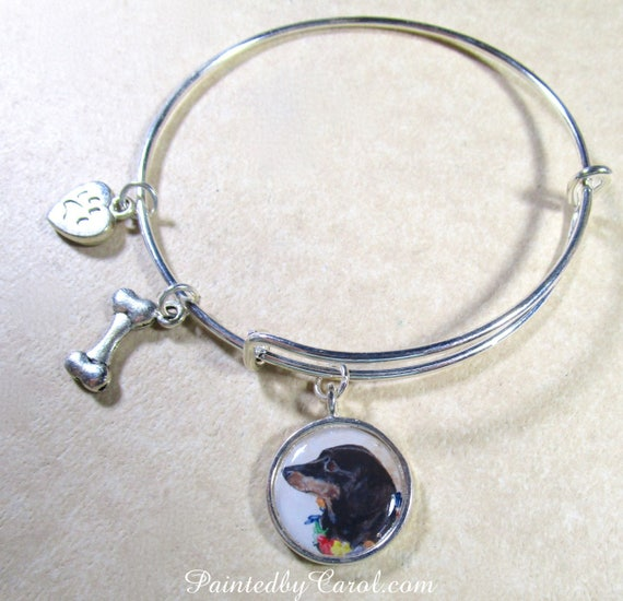 "/""DACHSHUND/""  BLK//TAN   Charm Bracelet  NEW with gift bag"