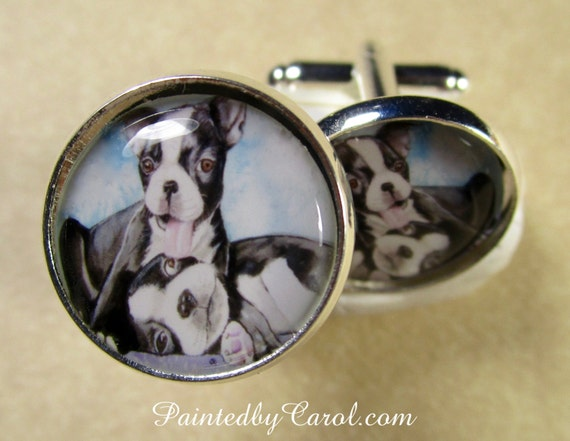 Boston Terrier Cufflinks Mens Gifts