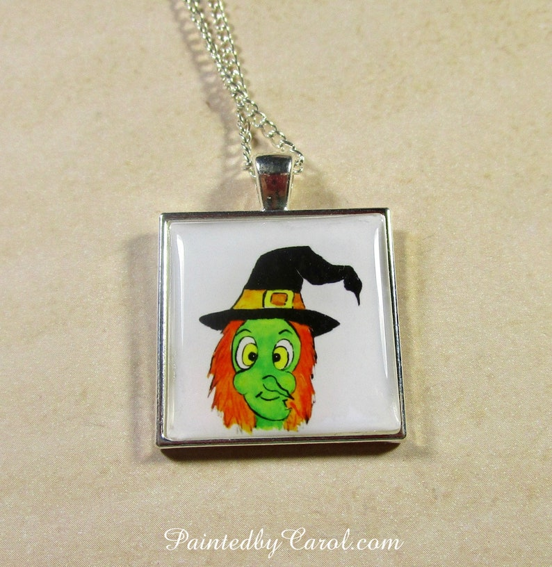 Witch Pendant Witch Necklace Witch Jewelry Halloween image 0