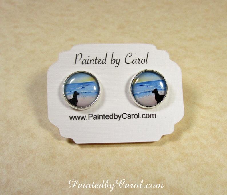 Dachshund Earrings Dachshund Silhouette On Beach Jewelry Stud