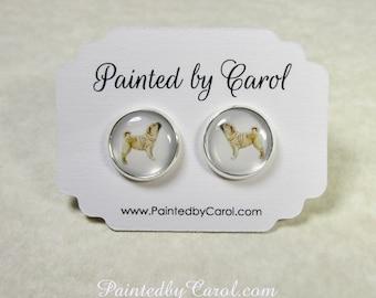 Shar Pei Earrings, Shar Pei Jewelry, Shar Pei Studs, Shar Pei Leverbacks, Shar Pei Gifts, Shar Pei Mom Gifts, Earrings with Shar Pei