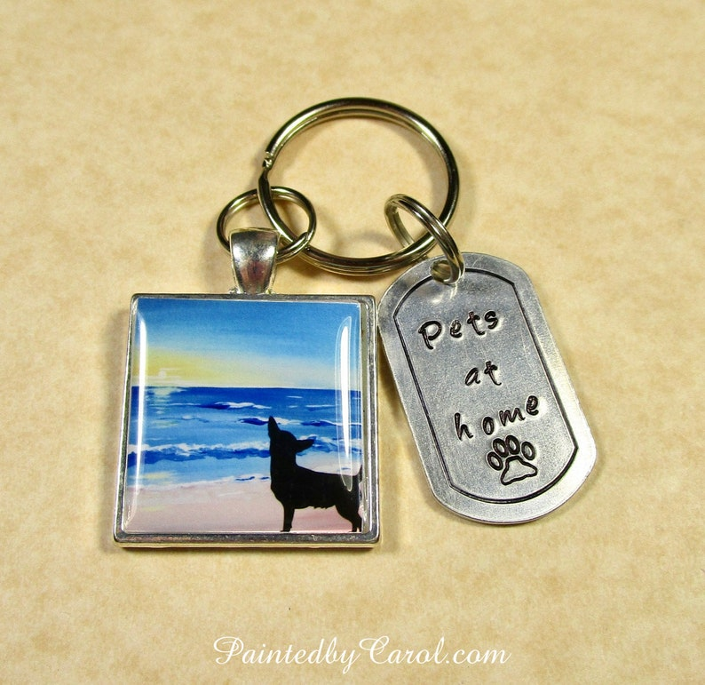 Chihuahua Keychain Chihuahua Silhouette on Beach Key Ring image 0