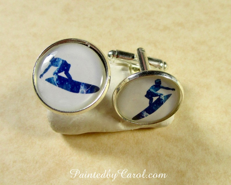 Surfer Cufflinks Surfer Mens Jewelry Surfer Mens Gifts image 0