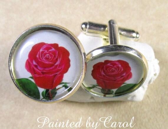 Cristal Decorado Rojo Rosa Mancuernas bolsa De Regalo Día De San Valentín
