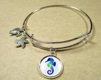 Seahorse Bangle Bracelet, Seahorse Jewelry, Seahorse Bracelet, Seahorse Expand It, Seahorse Gifts, Gift with Seahorse, Beach Bracelet