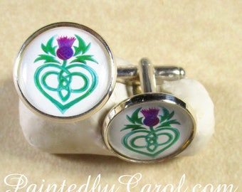 Celtic Thistle Cufflinks, Celtic Thistle Mens Gifts, Celtic Thistle Wedding Cufflinks, Celtic Thistle Grooms Cufflinks, Thistle Gifts