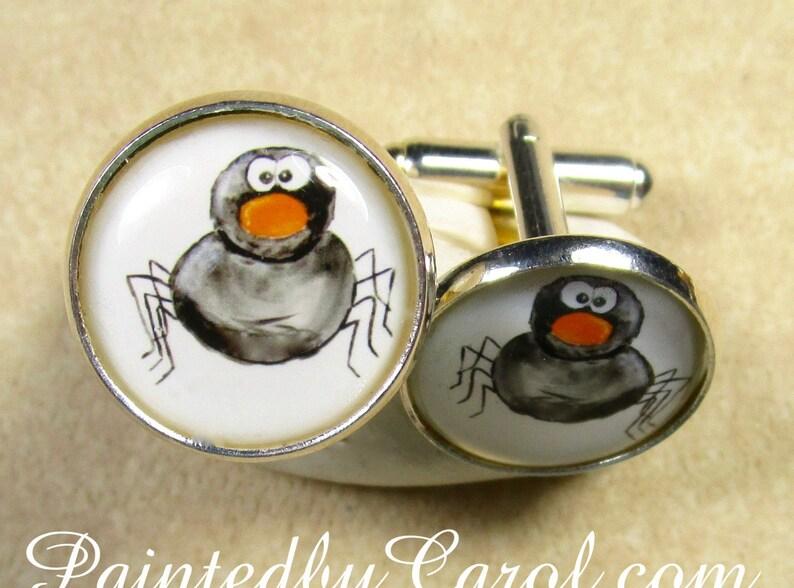 Spider Cufflinks Halloween Cufflinks Spider Jewelry image 0