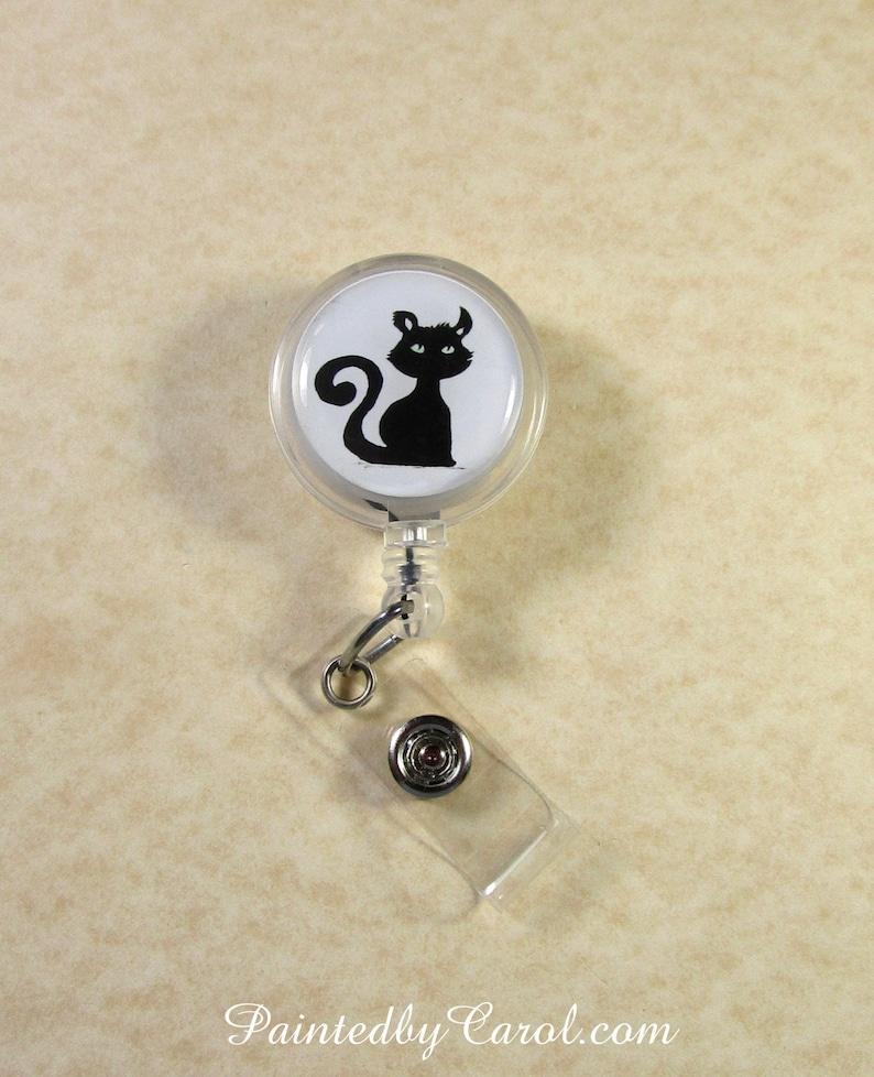 Black Cat Badge Reel Halloween Cat Lanyard Reel Black Cat image 0